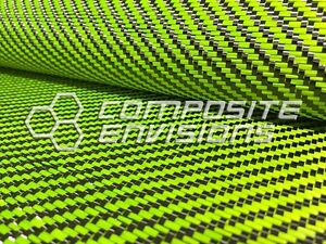 Carbon Fiber Lime Green Dyed Fiberglass Fabric 2x2 Twill 50 3k 12 53oz 425gsm