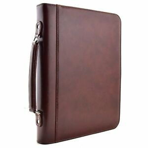 Zippered Executive 3 Ring Binder Portfolio With Built In Calculator Carrying