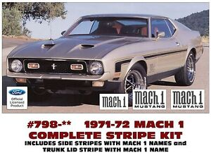 Ge 798 1971 72 Ford Mustang Mach 1 Complete Stripe Kit And Names 3 Colors