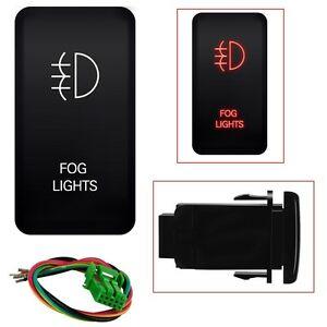 12v Push Switch Red Led Fog Light For Toyota 4runner Tocoma 120 Series 40mm 20mm