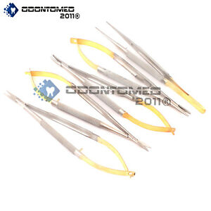 5 Castroviejo Micro Scissor Needle Holder Str Cvd Forceps Dental Eye Ey 008