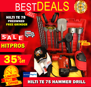 Hilti Te 75 Hammer Drill Preowned Free Grinder A Lot Of Extra Fast Ship