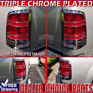 2007 2013 Gmc Sierra 1500 Triple Chrome Tail Light Bezel Covers Overlays Trims