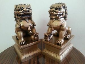 1pair Chinese Feng Shui Foo Dogs Statue Lucky Wealth Figurine Gift