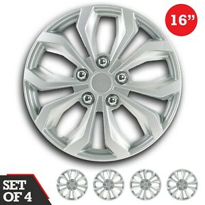 Set Of 4 Hubcaps 16 Wheel Cover Spa Silver Abs Easy To Install Universal Fit