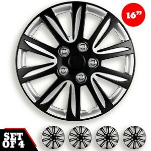 Set Of 4 Hubcaps 16 Wheel Cover Marina Bay Black Abs Quality Easy To Install