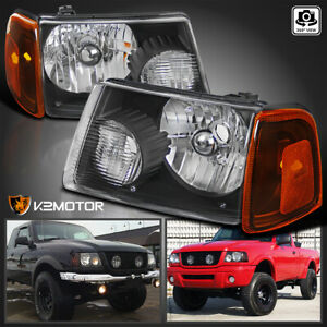 For 2001 2011 Ford Ranger Black Headlights amber Corner Signal Lamps Left right