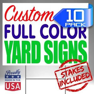 10 18x24 Custom Designed Yard Signs Full Color 2 Sided Free Shipping Stakes