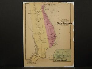Connecticut New London County Map 1868 Town Of New London 18
