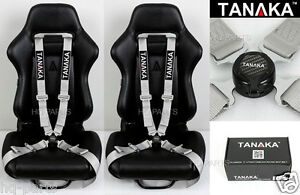 2 Tanaka Universal Silver 4 Point Camlock Quick Release Racing Seat Belt Harness