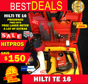 Hilti Te 16 c Preowned Free Laser Meter Bits A Lot Of Extras Fast Ship