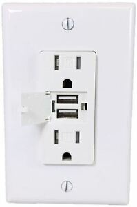 50 Pack Usb Decora Receptacle Tamper Resistant T r Tr Outlet 15a Amp White