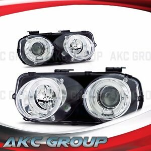 Dual Led Halo Ring Projector Lens Headlight Lamps For 1994 1997 Acura Integra