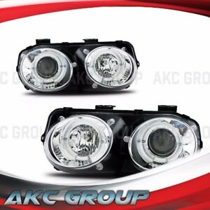 Dual Led Halo Ring Projector Lens Headlight Lamps For 1998 2001 Acura Integra