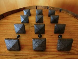 Set 12 Brown Square Shaped 1 Drawer Door Cabinet Knobs Pulls Cast Iron Pyramid
