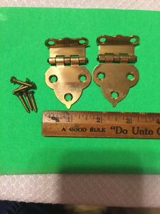Pair Of Brass Fancy Hinges For Ice Box Or Any Diy Project