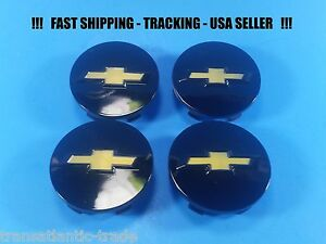 4 Black Center Caps Cap For Chevy Cruze Hhr Malibu Impala 9597551 58mm 2 25