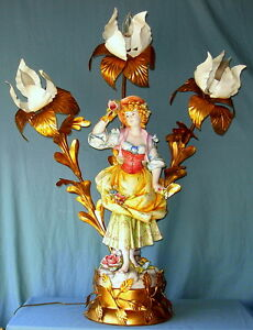 Vintage Unique Capodimonte Porcelain Figurine Lamp 2 Painted Signed G Spiller