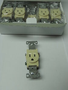 Wholesale Lot Of 200 Ivory Single Outlet Residential Wall Receptacle 15a 120v