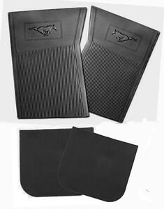 New 1965 1973 Ford Mustang Black Floor Mats Molded Rubber Set Of 4 Front Back