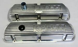 New Mustang Shelby Cobra Open Letter Valve Covers Powered By Ford Polished 289