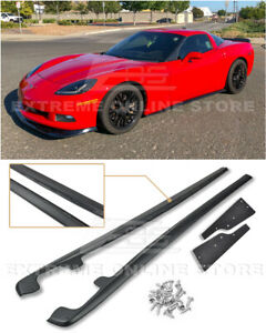 For 05 13 Corvette C6 Base Zr1 Style Side Skirts Rocker Panels W Mud Flaps