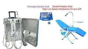 Updated Portable Dental Unit 2h Portable Chair High Low Speed Handpiece Kit