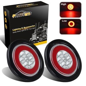 2xglo Lights Clear Red 4 Round Stop Turn Tail Brake Halo Lamp 19led Flush Mount