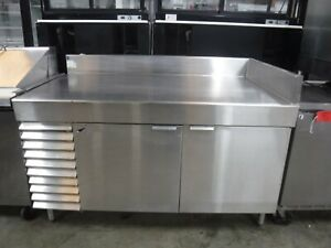 Right Cornered Stainless Steel Refrigerated Work Prep Station