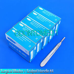500 Sterile Surgical Blades 20 21 23 24 W Free Scalpel Knife Handle 4