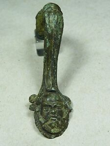 Ancient Handle Dionysus Head Bronze Greek 5th 4th Bc