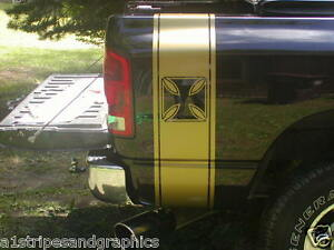 Iron Cross Truck Rear Bed Stripes Stripe Graphics Fit Ram 2500 3500 All Yr Chevy