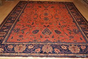 9 X 11 Authentic Persian Rug Circa 1930 S Antique Mahal Coral Navy Blue Pm75