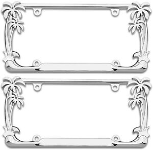 2 Pack Pair Chrome Metal Tropical Palm Tree Car License Plate Frame Tag Holder