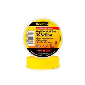 3m 3 4 Inch X 66 Feet Scotch Vinyl Color Coding Electrical Tape 35 Yellow