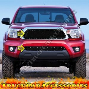 For Toyota Tacoma 2012 2013 2014 2015 Black Mesh Rivet Bumper Grille Combo 2pc