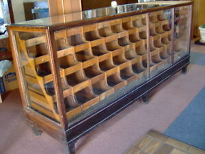 Antique Oak Wood Glass Mercantile Store Showcase 8 Long Display 55 Drawers