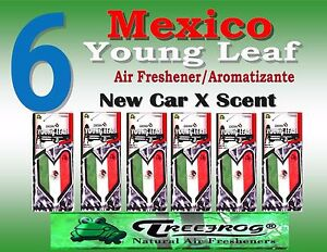 6 Packs Treefrog Young Leaf Mexico Flag Air Freshener New Car Scent