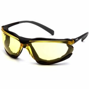 Pyramex Proximity Safety Glasses Foam Padded Black Frame Amber Anti fog Lens
