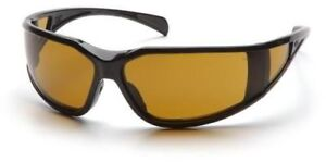 Pyramex Exeter Safety Glasses With Black Frame And Shooter s Amber Anti fog Lens