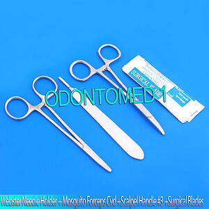 Webster Needle Holder 5 mosquito Forceps Crv 5 scalpel Handle 3 5 Blades 15