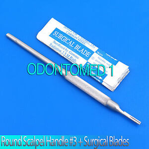 Round Scalpel Knife Handle 3 5 Sterile Surgical Blades 11 Stainless Steel
