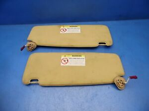 02 05 Bmw 7 Series E65 745i Oem Sun Visors Shades Stock Factory Beige X2 Flaws