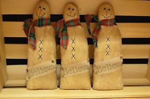 3 Primitive Snowman Ornies Pillows Tucks Dolls Christmas Folk Art Shelf Sitters