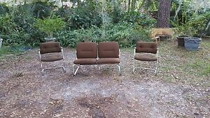 Mid Century Modern Steelcase Brown Fabric Chrome Loveseat Sofa 2 Chairs