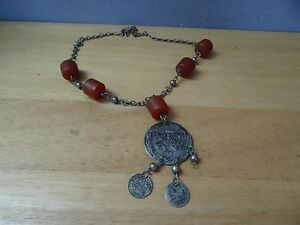 Antique Silver Coins Folklore Necklace 19th C Ottoman Old Amber Bedouin