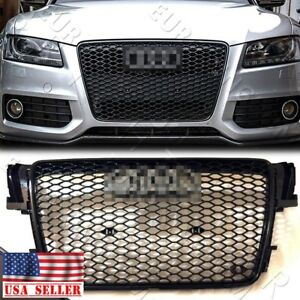For 07 12 Audi A5 s5 B8 Rs5 Style Euro Honeycomb Hex Mesh Grille Gloss Black
