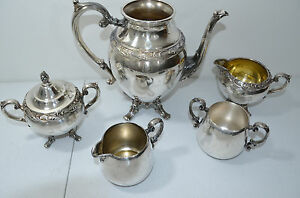 Wm Rogers Silverplated Tea Set 5 Pcs Defect Present See Description