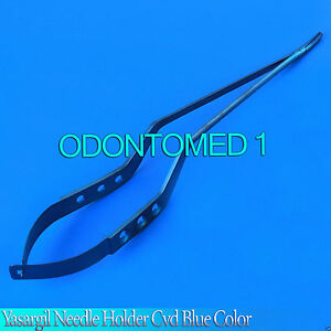 Yasargil Needle Holder 8 5 Blue Coated Curved Surgical Instruments
