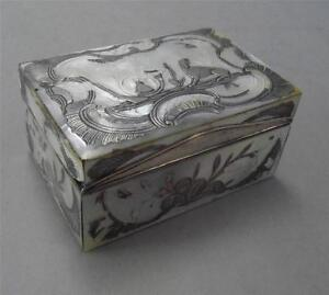 18th C French Silver Mother Of Pearl Box Paris 1753